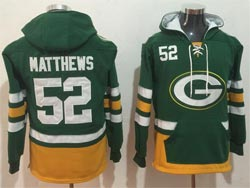 Mens Nfl Green Bay Packers #52 Clay Matthews Green Pocket Pullover Hoodie Jersey