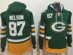 Mens Nfl Green Bay Packers #87 Jordy Nelson Green Pocket Pullover Hoodie Jersey