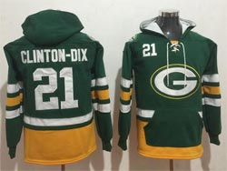 Mens Nfl Green Bay Packers #21 Haha Clinton-dix Green Pocket Pullover Hoodie Jersey