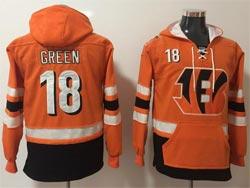 Mens Nfl Cincinnati Bengals #18 Aj Green Oranage Pocket Pullover Hoodie Jersey