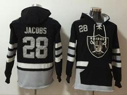 Mens Nfl Las Vegas Raiders #28 Josh Jacobs Black Pocket Pullover Hoodie Jersey