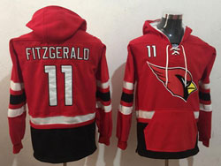 Mens Nfl Arizona Cardinals #11 Larry Fitzgerald Red Pocket Pullover Hoodie Jersey