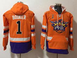 Mens Nba Phoenix Suns #1 Devin Booker Orange Pocket Pullover Hoodie Jersey