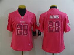 Women Nfl Las Vegas Raiders #28 Josh Jacobs Pink Fashion Vapor Untouchable Limited Nike Jersey
