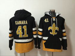 Mens Nfl New Orleans Saints #41 Alvin Kamara Black Pocket Pullover Hoodie