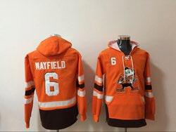 Mens Nfl Cleveland Browns #6 Baker Mayfield Orange Anime Genie Pocket Pullover Hoodie
