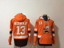 Mens Nfl Cleveland Browns #13 Odell Beckham Jr Orange Anime Genie Pocket Pullover Hoodie