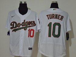 Mens Mlb Los Angeles Dodgers #10 Justin Turner White Green Name&number Flex Base Nike Jersey