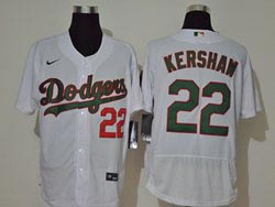 Mens Mlb Los Angeles Dodgers #22 Clayton Kershaw White Green Name&number Flex Base Nike Jersey