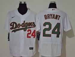 Mens Mlb Los Angeles Dodgers #24 Bryant White Green Name&number Flex Base Nike Jersey