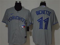 Mens Mlb Toronto Blue Jays #11 Bo Bichette Gray Cool Base Nike Jersey