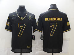 Mens Nfl Pittsburgh Steelers #7 Ben Roethlisberger Black Retro Golden 2020 Salute To Service Limited Jersey