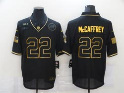 Mens Nfl Carolina Panthers #22 Christian Mccaffrey 2020 Black Retro Golden Vapor Untouchable Limited Nike Jersey