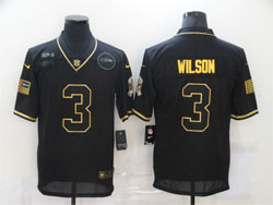Mens Nfl Seattle Seahawks #3 Russell Wilson Black Retro Golden 2020 Salute To Service Limited Jersey