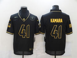 Mens Nfl New Orleans Saints #41 Alvin Kamara Black Retro Golden 2020 Salute To Service Limited Jersey