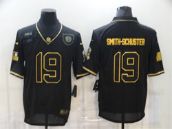 Mens Nfl Pittsburgh Steelers #19 Juju Smith-schuster Black Retro Golden 2020 Salute To Service Limited Jersey