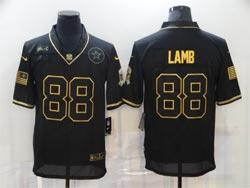 Mens Nfl Dallas Cowboys #88 Ceedee Lamb Black Retro Golden 2020 Salute To Service Limited Jersey