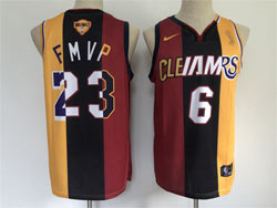 Mens Nba Los Angeles Lakers Cleveland Cavaliers #23 #6 Lebron James Red&gold 2020 Mvp Split Nike Jersey