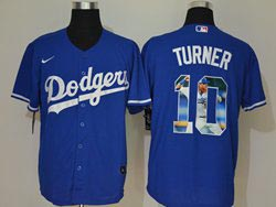 Mens Mlb Los Angeles Dodgers #10 Justin Turner Blue Wonderful Moment Cool Base Nike Jersey