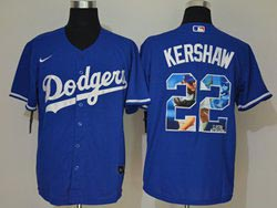 Mens Mlb Los Angeles Dodgers #22 Clayton Kershaw Blue Wonderful Moment Cool Base Nike Jersey