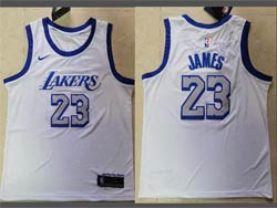 Mens Nba Los Angeles Lakers #23 Lebron James White 2020-21 City Edition Nike Swingman Jersey