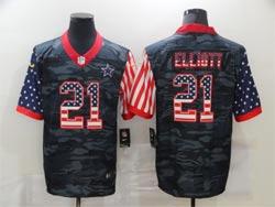 Mens Nfl Dallas Cowboys #21 Ezekiel Elliott 2020 Camo Usa Flag Salute To Service Limited Nike Jersey