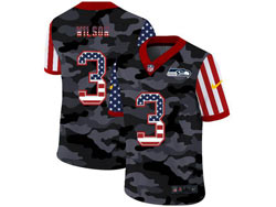 Mens Seattle Seahawks #3 Russell Wilson 2020 Camo Usa Flag Salute To Service Limited Nike Jersey