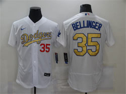 Mens Mlb Los Angeles Dodgers #35 Cody Bellinger White Golden Nike 2020 World Series Champions Flex Base Jersey