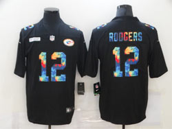 Mens Nfl Green Bay Packers #12 Aaron Rodgers Black Rainbow Vapor Untouchable Limited Nike Jersey
