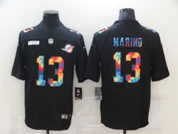 Mens Miami Dolphins #13 Dan Marino Black Rainbow Vapor Untouchable Limited Nike Jersey