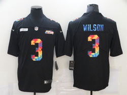 Mens Nfl Seattle Seahawks #3 Russell Wilson Black Rainbow Vapor Untouchable Limited Nike Jersey