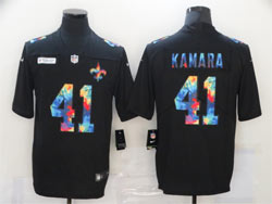 Mens Nfl New Orleans Saints #41 Alvin Kamara Black Rainbow Vapor Untouchable Limited Nike Jersey