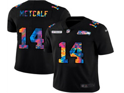 Mens Nfl Seattle Seahawks #14 Dk Metcalf Black Rainbow Vapor Untouchable Limited Nike Jersey