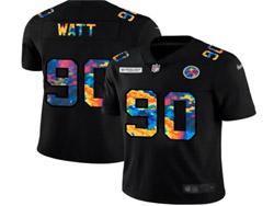 Mens Nfl Pittsburgh Steelers #90 T. J. Watt Black Rainbow Vapor Untouchable Limited Nike Jersey