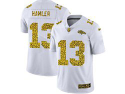 Mens Nfl Denver Broncos #13 K.j. Hamler White Flocked Leopard Fashion Limited Nike Jersey