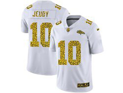 Mens Nfl Denver Broncos #10 Jerry Jeudy White Flocked Leopard Fashion Limited Nike Jersey