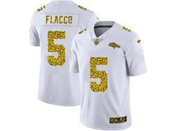 Mens Nfl Denver Broncos #5 Joe Flacco White Flocked Leopard Fashion Limited Nike Jersey
