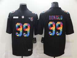 Mens Nfl Los Angeles Rams #99 Aaron Donald Black Rainbow Vapor Untouchable Limited Nike Jersey