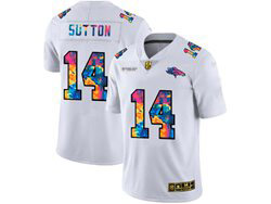 Mens Nfl Denver Broncos #14 Courtland Sutton White Rainbow Vapor Untouchable Limited Nike Jersey