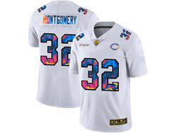 Mens Nfl Chicago Bears #32 David Montgomery White Rainbow Vapor Untouchable Limited Nike Jersey