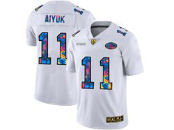 Mens Nfl San Francisco 49ers #11 Brandon Aiyuk White Rainbow Vapor Untouchable Limited Nike Jersey
