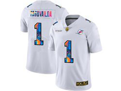 Mens Miami Dolphins #1 Tua Tagovailoa White Rainbow Vapor Untouchable Limited Nike Jersey