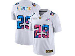 Mens Miami Dolphins #29 Minkah Fitzpatrick White Rainbow Vapor Untouchable Limited Nike Jersey