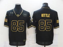 Mens Nfl San Francisco 49ers #85 George Kittle Black Retro Golden 2020 Salute To Service Limited Jersey