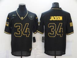Mens Nfl Las Vegas Raiders #34 Bo Jackson Black Retro Golden 2020 Salute To Service Limited Jersey