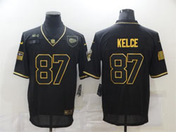 Mens Nfl Kansas City Chiefs #87 Travis Kelce Black Retro Golden 2020 Salute To Service Limited Jersey