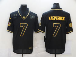 Mens Nfl San Francisco 49ers #7 Colin Kaepernick Black Retro Golden 2020 Salute To Service Limited Jersey