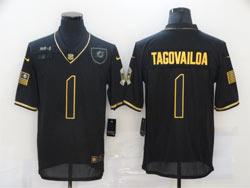 Mens Miami Dolphins #1 Tua Tagovailoa Black Retro Golden 2020 Salute To Service Limited Jersey