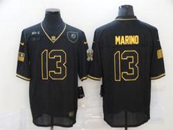 Mens Miami Dolphins #13 Dan Marino Black Retro Golden 2020 Salute To Service Limited Jersey