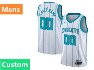 Mens Nba Charlotte Hornets Custom Made Jordan Brand 2020 Fast Break Association Edition White Swingman Jersey